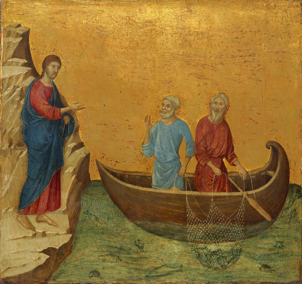 The Calling of the Apostles Peter and Andrew (from the Maestà), c. 1308-1311, Duccio di Buoninsegna. The Yorck Project: 10.000 Meisterwerke der Malerei. DVD-ROM, 2002. ISBN 3936122202. Distributed by DIRECTMEDIA Publishing GmbH.